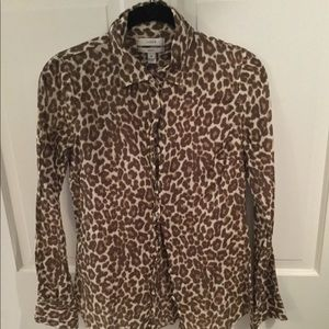 J. CREW leopard print perfect shirt